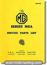 Catalogue de pièces détachées MGA (1955-1959)