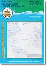 Carte de la Corse à la Sicile et au Cap Bon